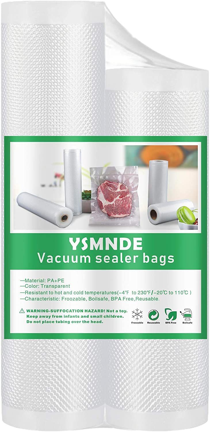 YSMNDE Vacuum Sealer Rolls Bag for Food, Commercial Grade, BPA Free, Heavy Duty, Great for Vac Storage, Meal Prep, Freezer, Microwave or Sous Vide Cooking, 2 Pack 10