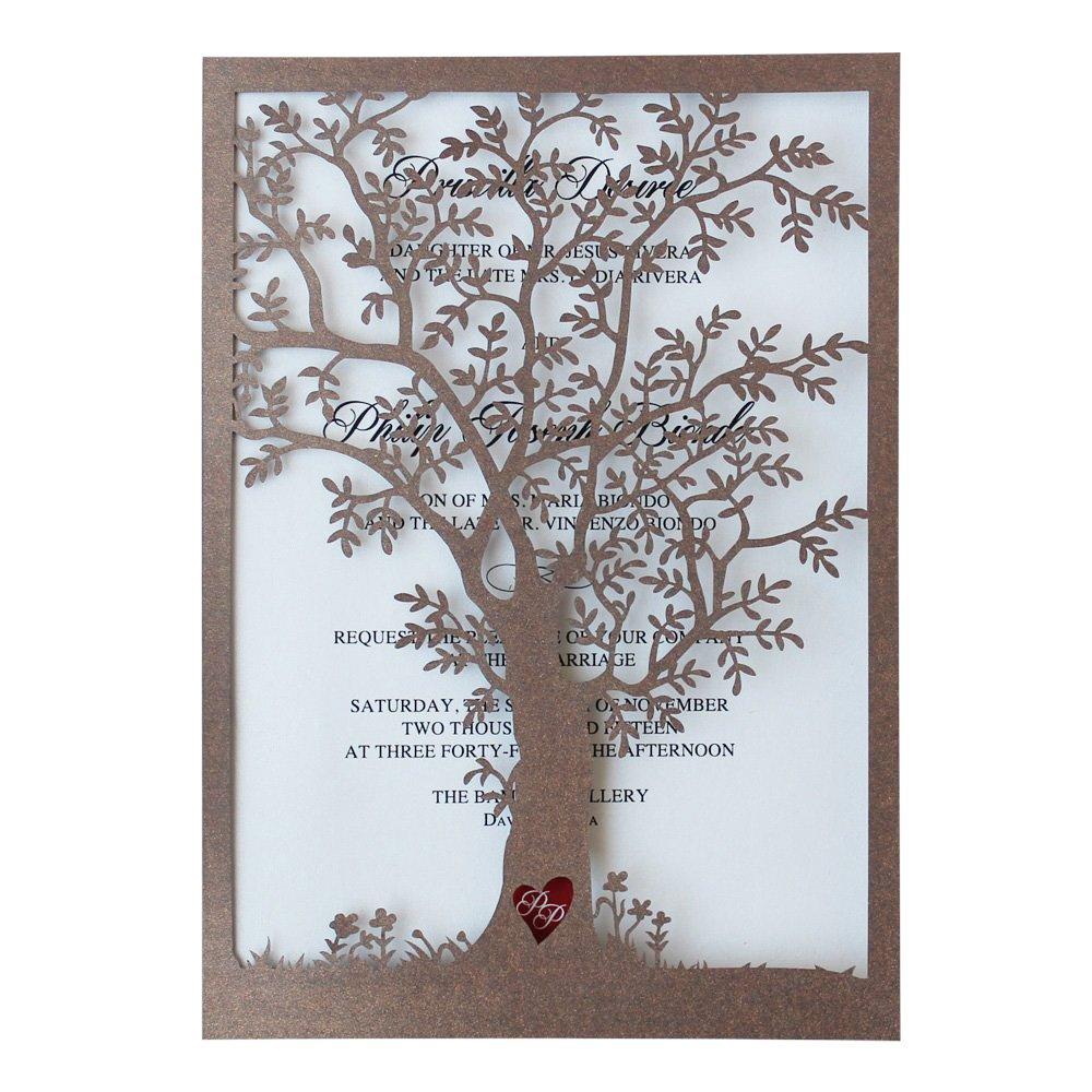 Rustic Tree Wedding Invitation, Laser Cut Tree Invitations, Printable Wedding Invitation Cards- Pack of 50