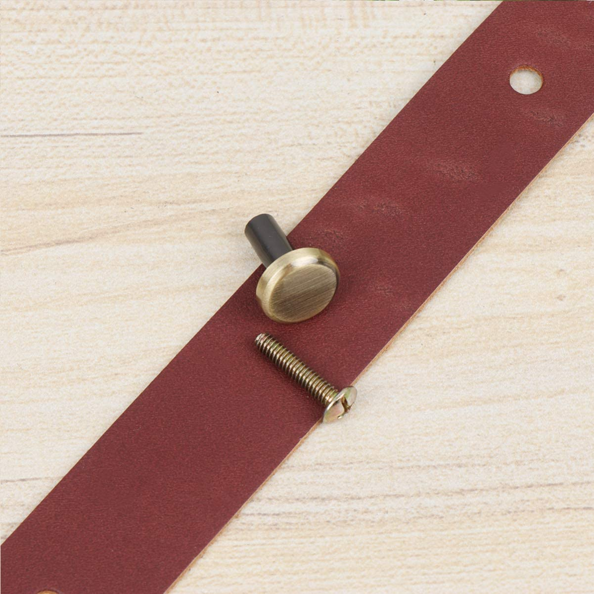 Dark Brown Healifty 2PCS Leather Handle Vintage Handle Pulls Handle Strap Replacement for Furniture Drawer Door Cabinet Wardrobe