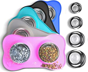 Active Pets Dog Bowl Set, Stainless Steel No Spill Mess-Proof Food & Water Dog Food Bowls with Skid Resistant Silicone Mat, Dog Bowls Small Size Dog, Medium, & Large, Pet Puppy Bowls & Dog Dishes