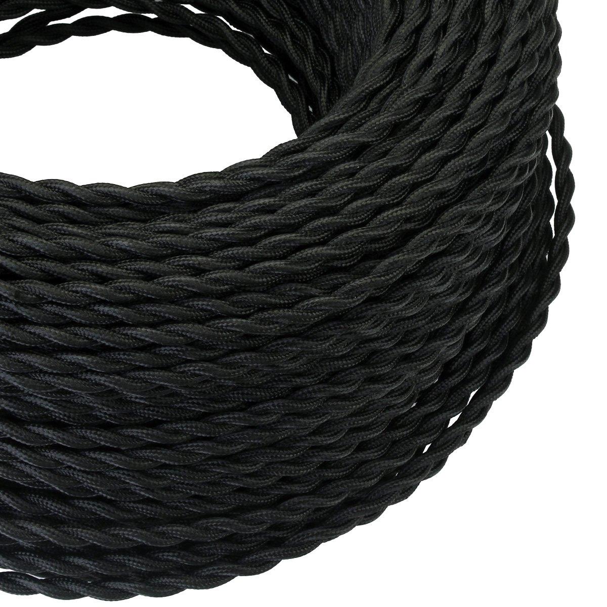 Or clair C/âble /électrique textile pour les Accessoires de Lampe Bricolage 2x0,75mm/² c/âble de lumi/ère de 2 fils 5M GreenSun Fils Electriques Torsad/é Tissu R/étro