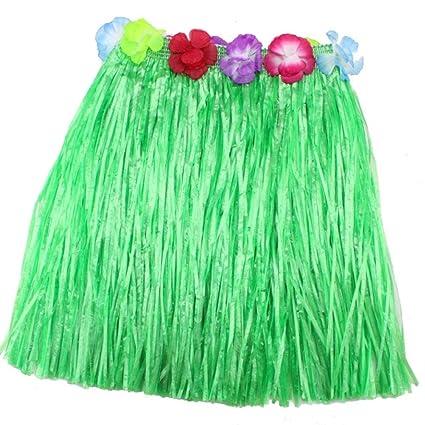 99b976bf CosCosX 1 PCS Hawaii Hula Skirt Hawaiian Party Clothes, Elastic Waistline Hawaiian  Hula Dancing Grass Skirt 40cm Hawaii Dance Skirt FOR KIDS(Green): ...