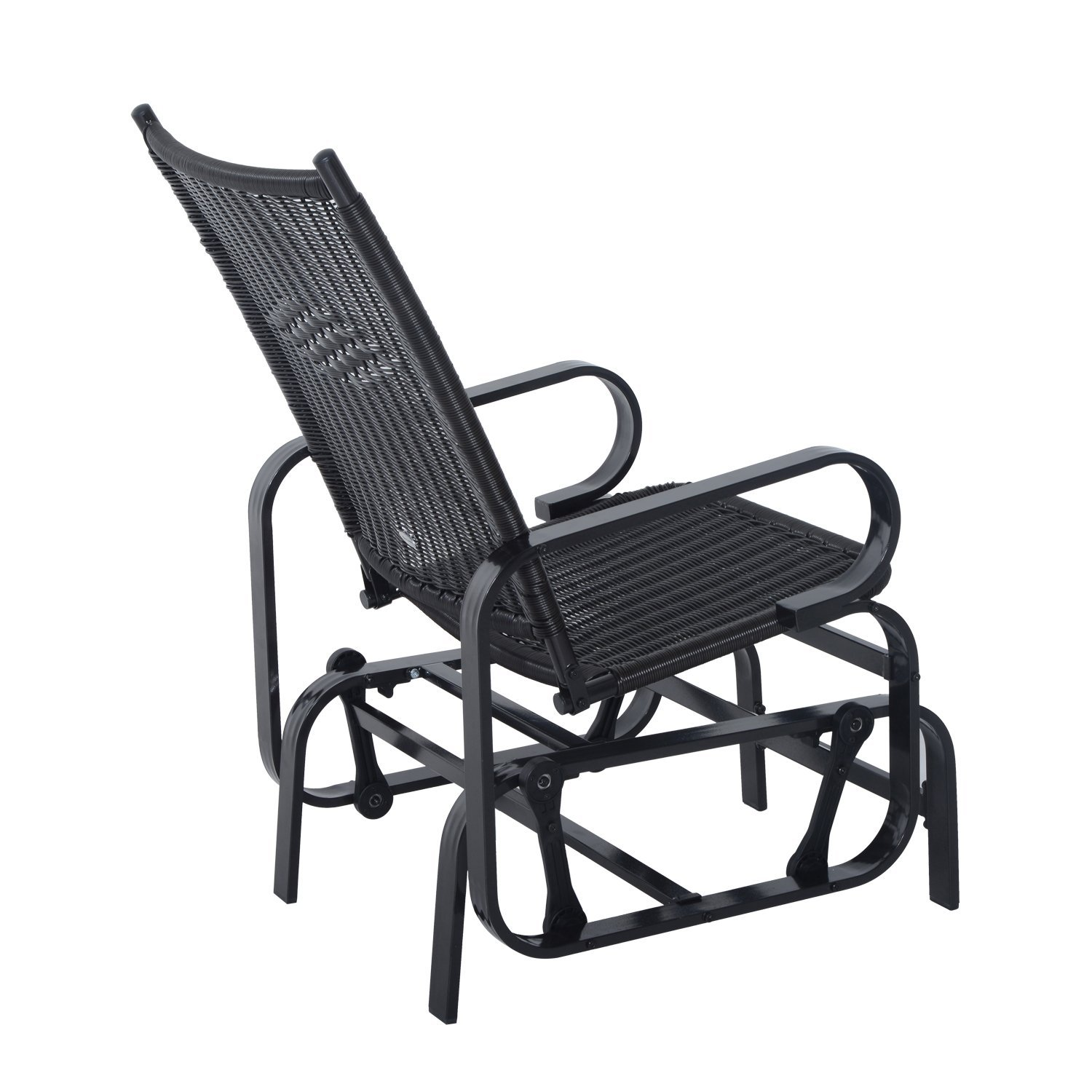 outsunny rattan glider rocking chair single seater rocker seat garden swing chair patio furniture wicker aluminum frame amazoncouk garden u0026 outdoors