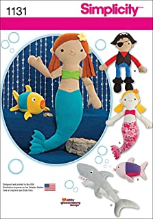 product image for Simplicity Patterns 1131 Stuffed Mermaid, Pirate, Shark and Fish, One Size