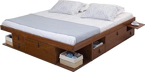 Memomad Bali Storage Platform Bed With Drawers King Size Caramel Kitchen Dining