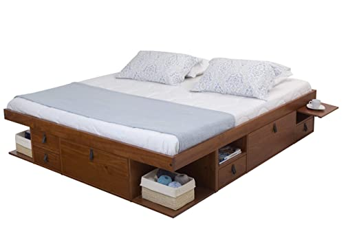 Memomad Bali Storage Platform Bed with Drawers King Size, Caramel