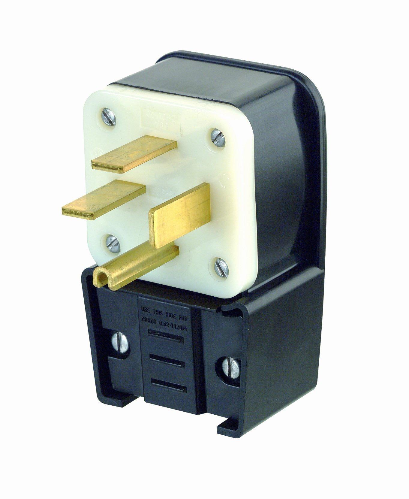Leviton 8452-P 50 Amp, 250 Volt- 3PY, Straight Blade, Plug, Industrial Grade, Grounding, Angle, Black