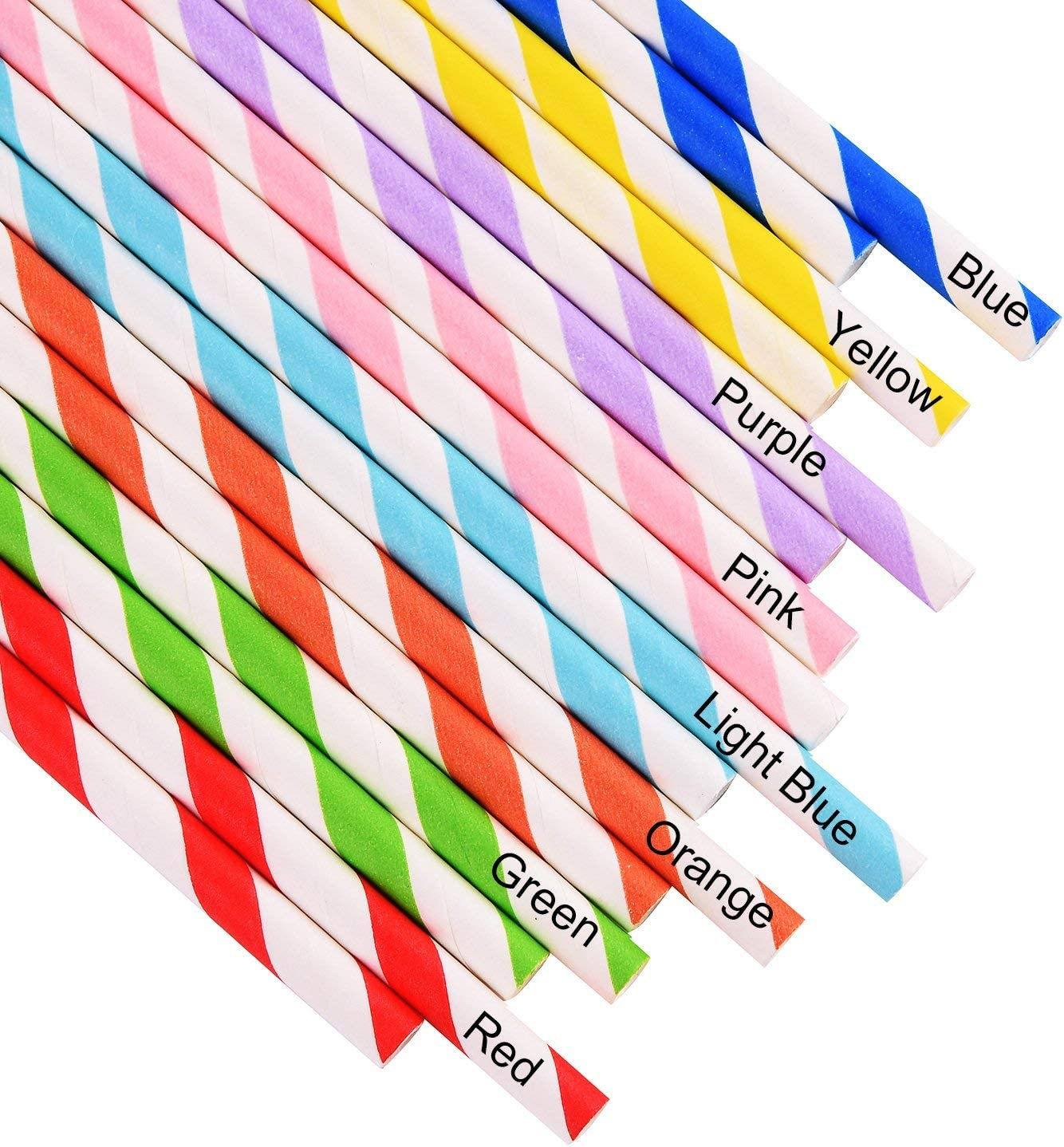 Soda ALINK 200 Biodegradable Paper Straws Bulk Bridal//Baby Shower Coffee Assorted Rainbow Colors Striped Drinking Straws for Juice Smoothies Cocktail Wedding Holiday Party Suppliers