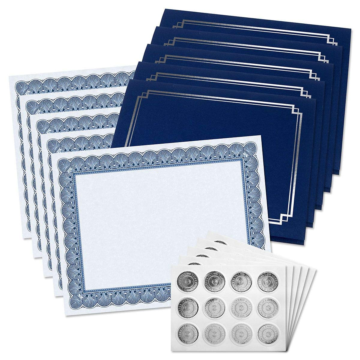 Classic Elite Award Certificate Collection with Silver Seals - Includes 25 Blank-Inside Certificate Papers, 25 Heavy Linen Blue with Silver Border Certificate folders, 25 Silver foil Seals by Fine Stationery