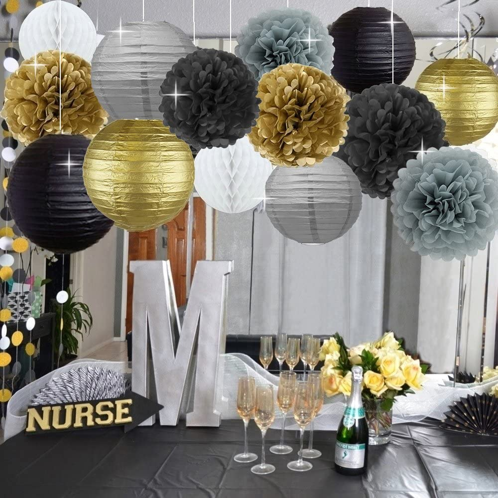 Black and Gold Theme Party Decoration Kit of Hanging Swirls 、Tissue Pom Poms and Other Birthday Party Supplies