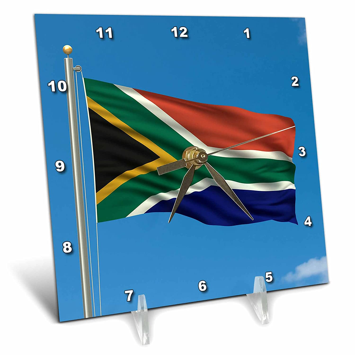 3dRose dc/_157075/_1 Flag of South Africa on a Flag Pole with Blue Sky African Desk Clock 6 by 6-Inch