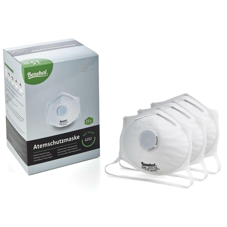 Benehal ® 15x Atemschutzmaske FFP2 - Hochwertige Staubmaske - Atemmaske für exzellenten Schutz - Geprüfte Mundschutz-Maske - Fest sitzend - Komfortabel und Anpassbar BMT