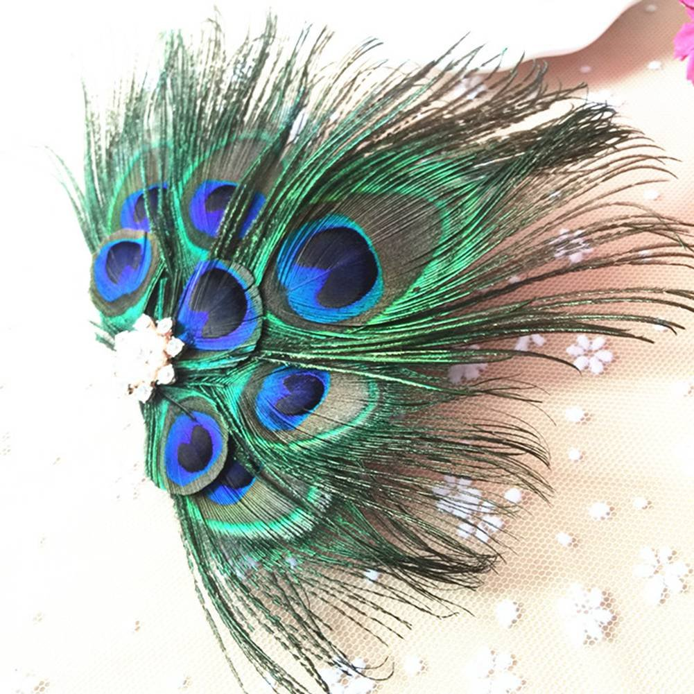 ACTLATI Retro Peacock Feather Rhinestone Fascinator Hair Clip Party Hairpin Roaring 20s Headpiece by ACTLATI (Image #3)