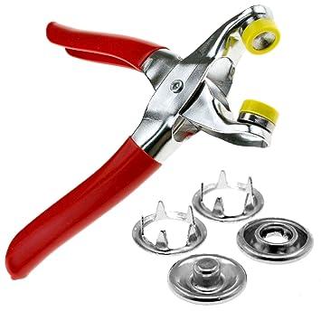 ENET - Alicates de presión para Manualidades + 9 Kit de Herramientas de fijación con Botones de 5 mm, 100 Unidades: Amazon.es: Hogar