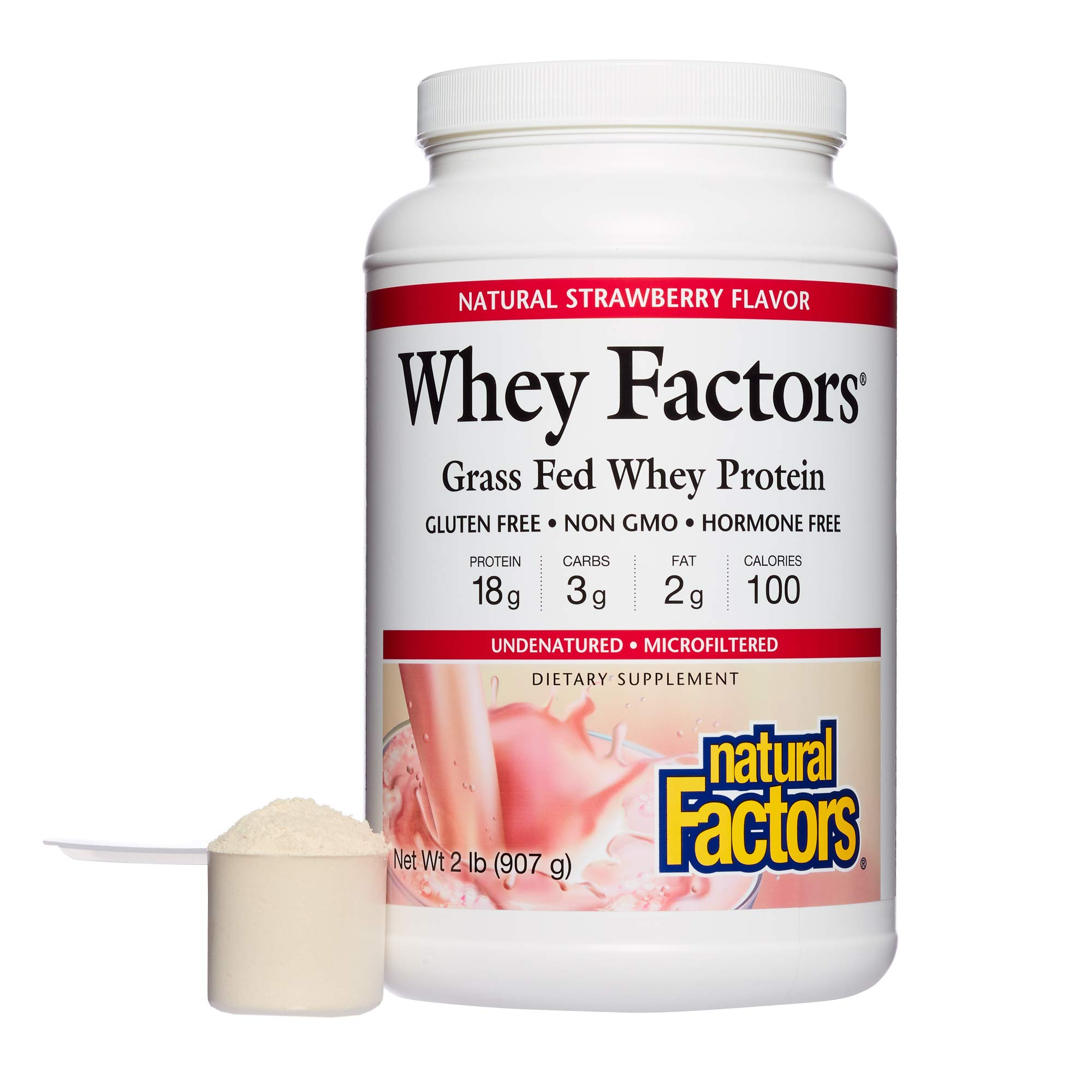 Natural Factors - Whey Factors, 100% Natural Whey Protein, Strawberry, 17 Servings (12 oz)
