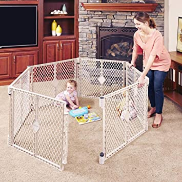North States Superyard Indoor-Outdoor 8-Panel Play Yard Safe Play Area Anywh...