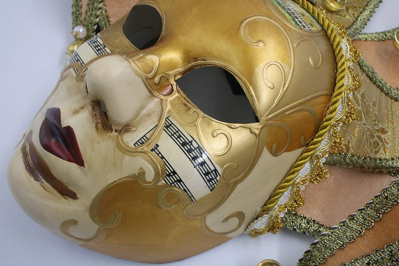 Hophen Gold Volto Music Venetian Jester Mask Masquerade Halloween Party Bell Joker Wall Decorative Art Collection Mask