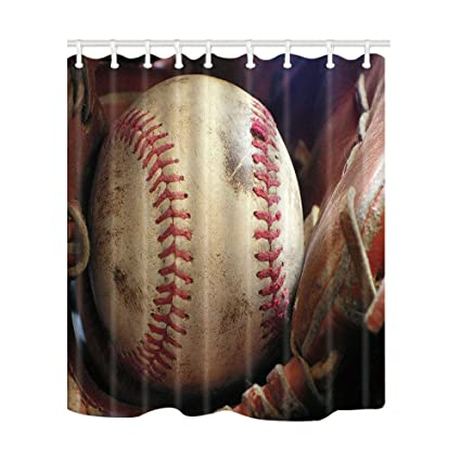NYMB Vintage Baseball Shower Curtain 69X70 Inches Mildew Resistant Polyester Fabric Bathroom Fantastic Decorations Bath Curtains