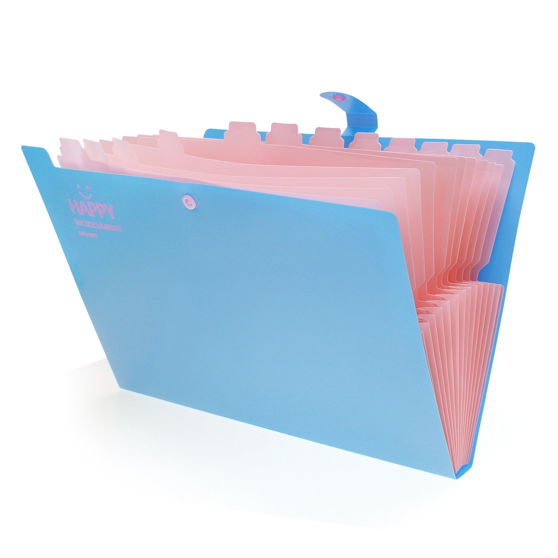 formato A4 colori pastello Laconile Carpetta portadocumenti espandibile ideale per archiviare i vostri documenti 32.5*24*2.5cm Blue con 12 tasche per la casa o l/'ufficio