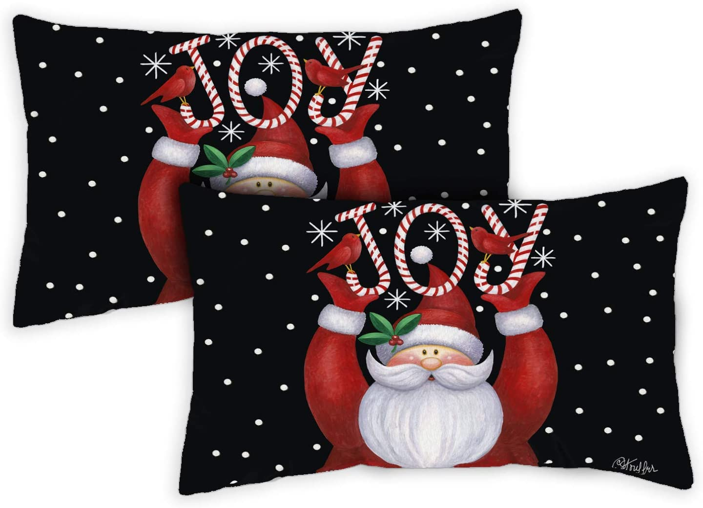Toland Home Garden 771280 Santa Joy 12 x 19 Inch Indoor/Outdoor, Pillow Case (2-Pack)