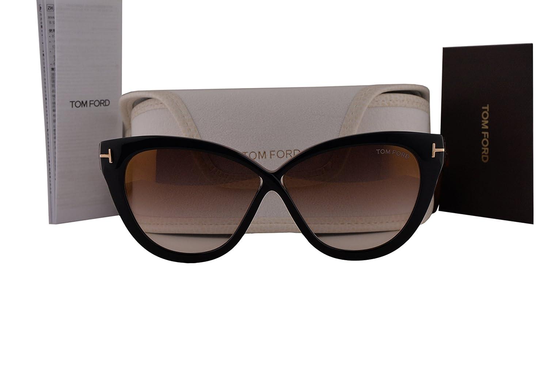 463577a8246d Amazon.com  Tom Ford FT0511 Arabella Sunglasses Black w Brown Mirror Lens  05G TF511  Clothing