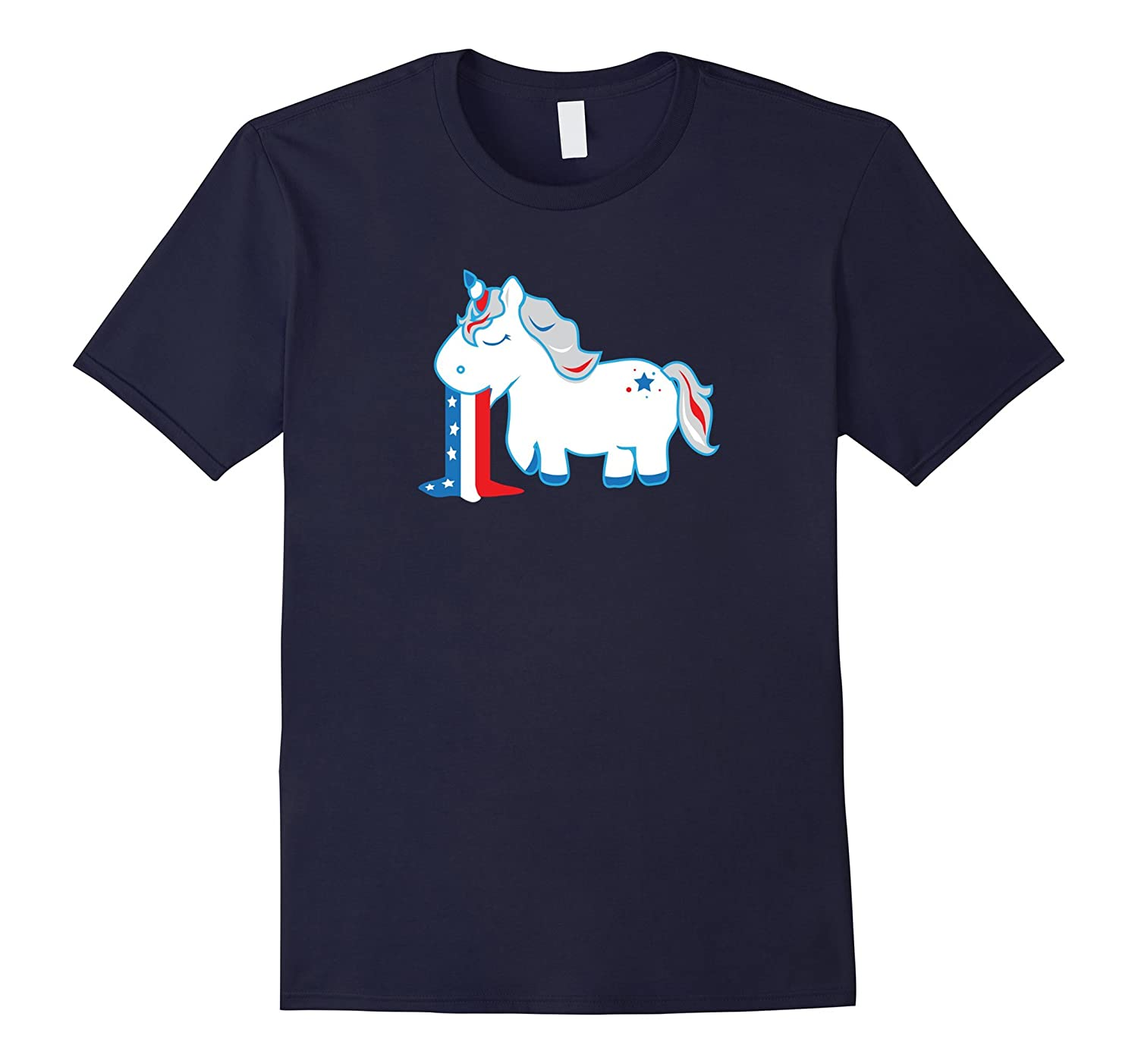 4th of July Unicorn Shirt Barfing Red White  Blue Gift-PL