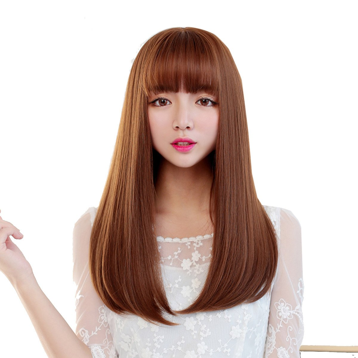A Snifgoij Wig Female Long Straight Hair Buckle Long Hair Natural Realistic Wig Sets Middle Points Long Curls Changeable Smooth No Shine Realistic,A
