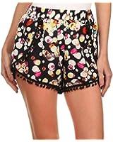 Simplicity Women's High Waisted Pompom Tassel Trim Beach Casual Gym Mini Shorts