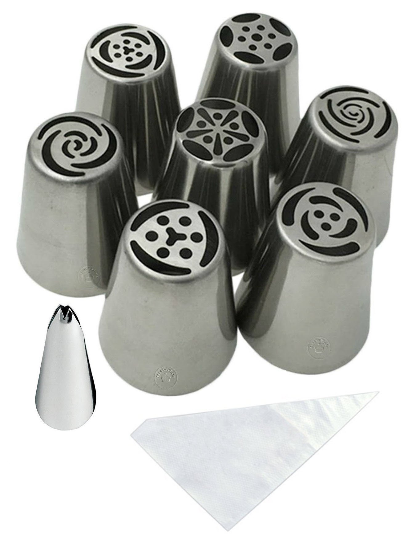 Acacia Place Russian Piping Tips Large Flower Cake/Cupcake Stainless Steel Decorating Icing Nozzles with Leaf Tip and Disposable Pastry Bags 18pc Set