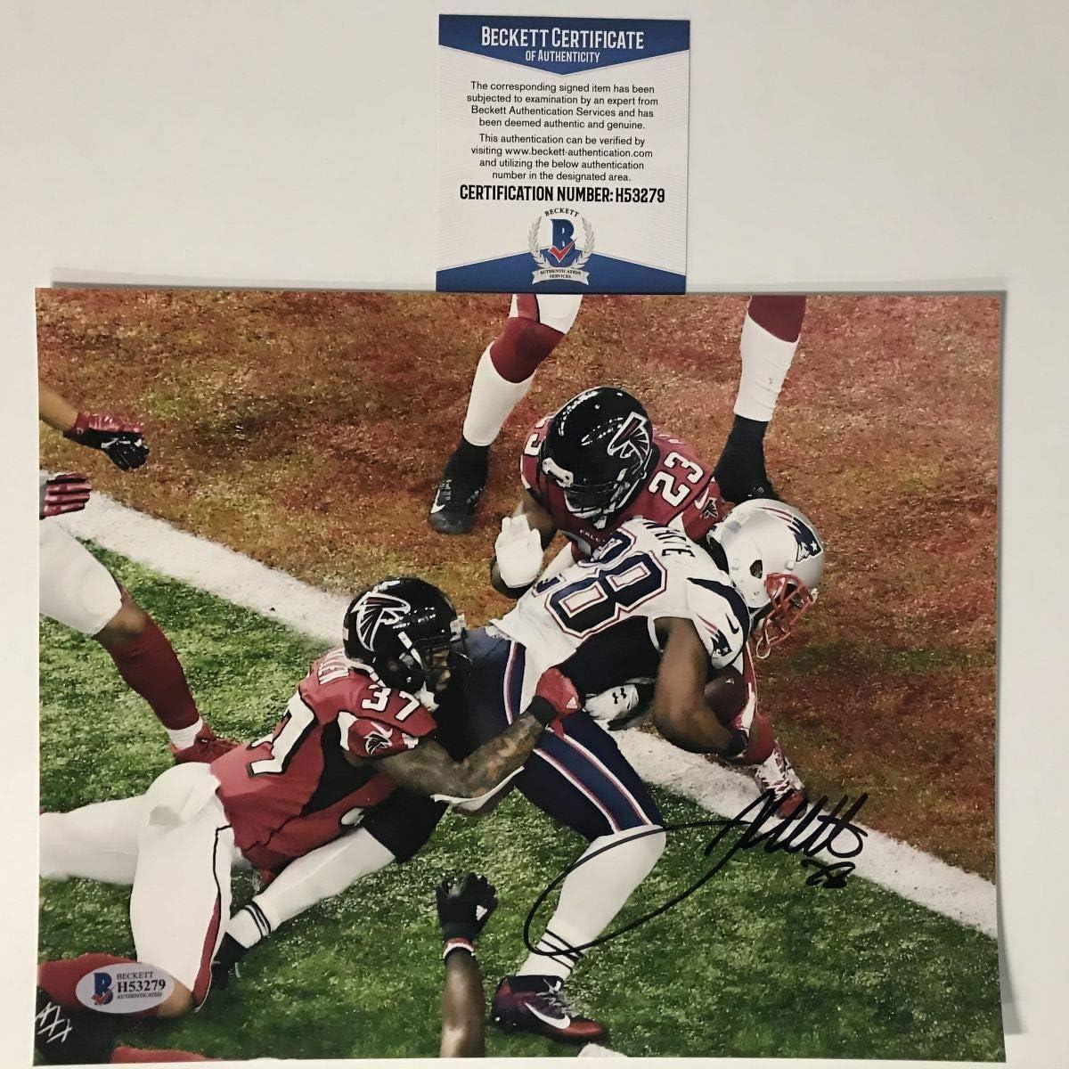 Autographed//Signed James White Super Bowl 51 GW TD New England Patriots 8x10 Football Photo Beckett BAS COA