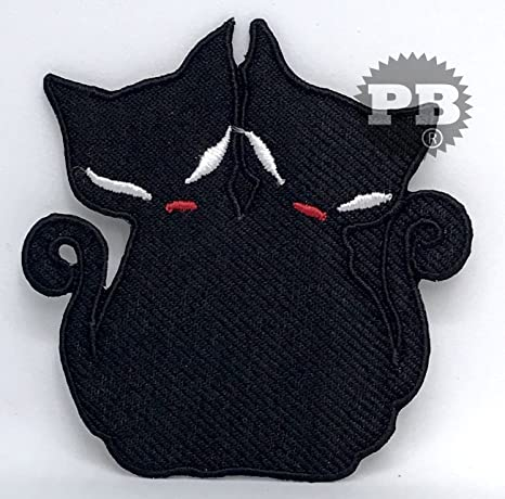 #741Parche bordado, diseño de bonitos gatos negros, se puede