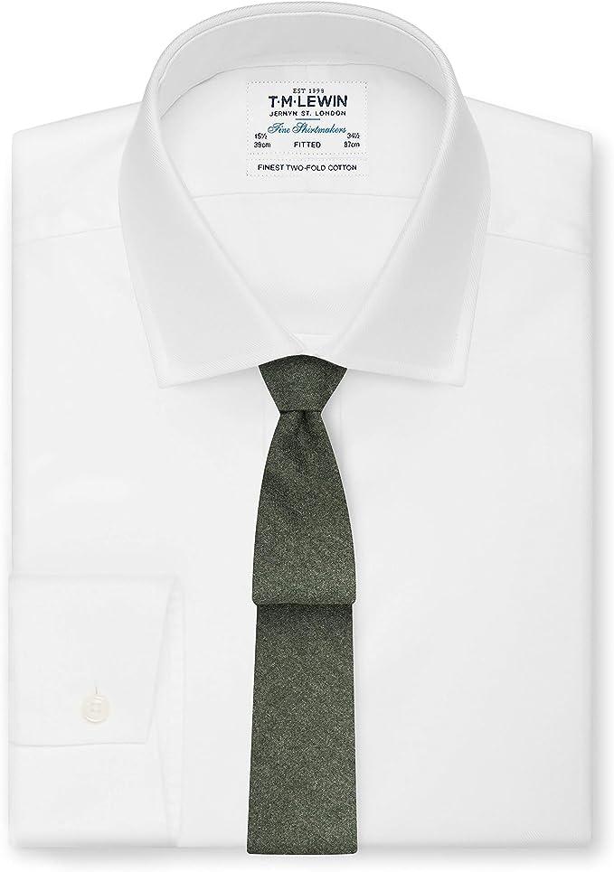 T.M.Lewin Barberis - Corbata de franela de lana, color verde oliva ...
