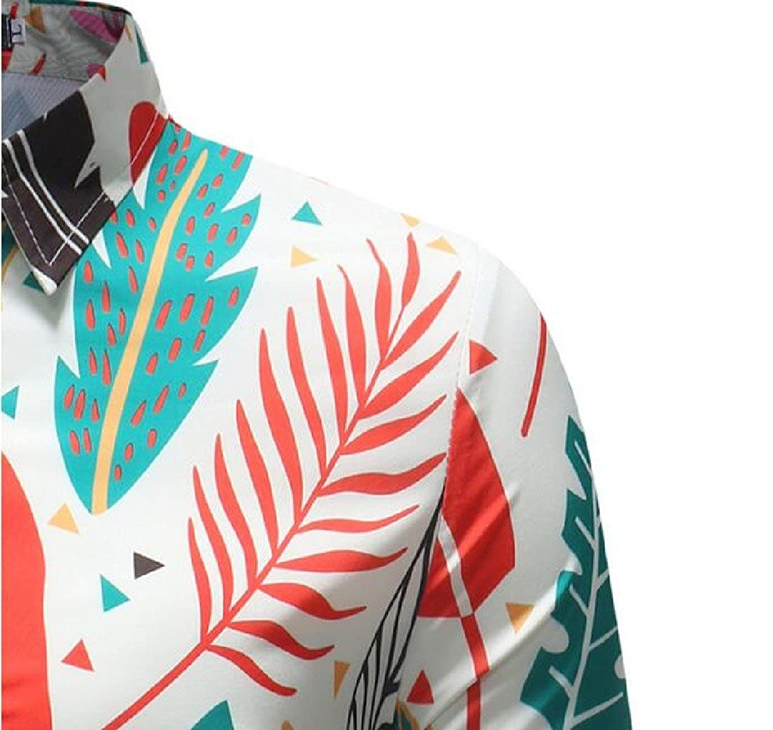 RkBao Mens Turn-Down Collar Fashion Floral Long-Sleeve Classic Woven Shirt