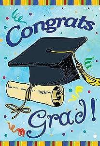 Texupday Congrats Grad Graduation Cap and Diploma Garden Flag Outdoor Yard Flag 12