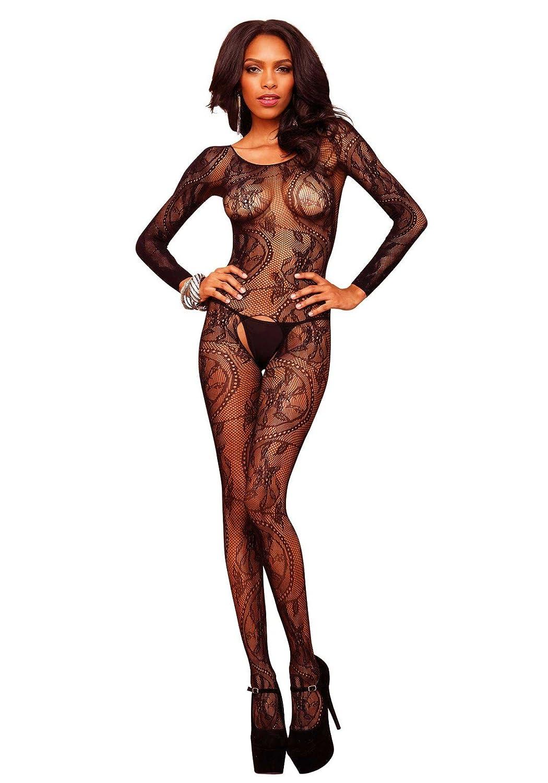 Leg Avenue 89108 - Swirl Lace Bodystocking, Einheitsgröße, Schwarz Einheitsgröße Leg Avenue Inc. 8910822001