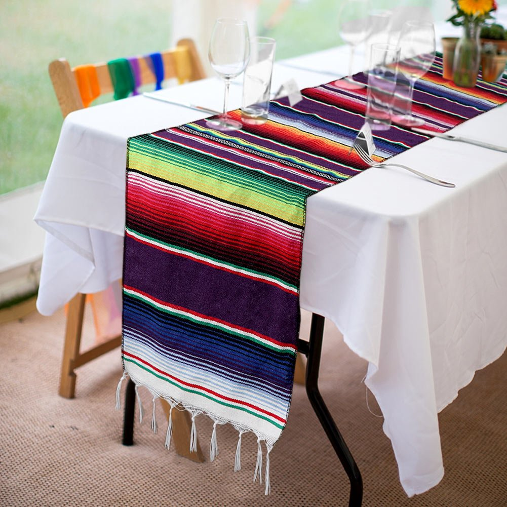 OurWarm 14 x 84 inch Mexican Serape Table Runner for Mexican Party Wedding Decorations, Fringe Cotton Table Runner by OurWarm (Image #5)