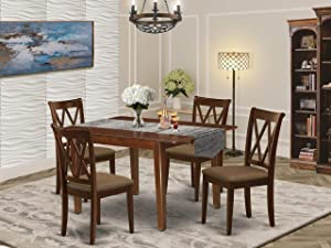 East West Furniture 5Pc Dining Set Includes a Rectangle Dinette Table with Butterfly Leaf and Four Double X Back Microfiber Seat Kitchen Chairs, Mahogany Finish