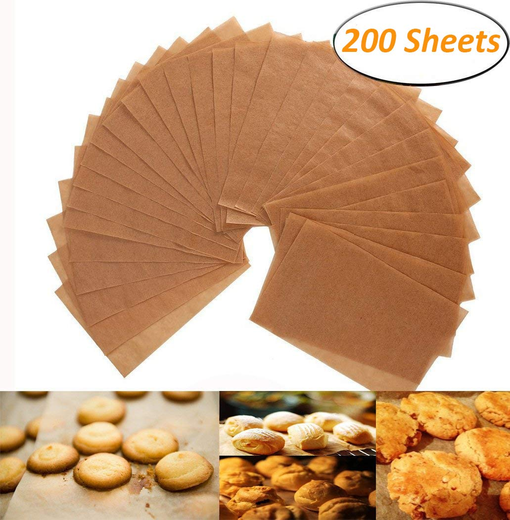 Unbleached Parchment Paper - 200 Non-Stick Brown Cookie Baking Sheets - 12 x 16 Inches - Safe for High Temperature Baking - More Convenient than the Rolled Alago