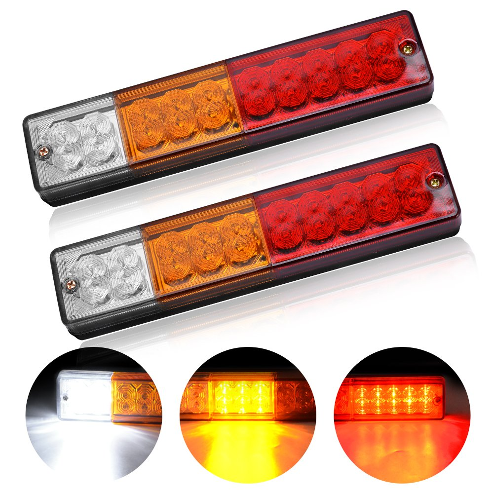 20-LED Trailer Tail Lights Bar - Waterproof DC 12V Tail/Turn Signal/Reverse Lights for Truck, Trailer,UTV, RV Camper (Pack of 2)