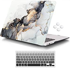 iCasso MacBook Air 13 Inch Case Durable Rubber Coated Plastic Cover for MacBook Air 13 Inch Model A1369/A1466 with Keyboard Cover - Lightning