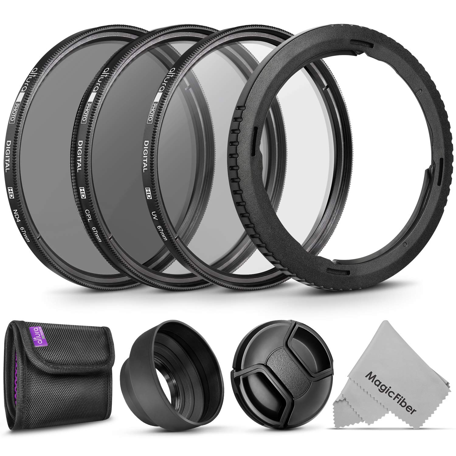 Essential Accessory Kit for Canon PowerShot SX530, SX520, SX70, SX60, SX50, SX40 HS - Includes: Filter Adapter Ring + Altura Photo Filter Kit (UV-CPL-ND4) + Collapsible Rubber Lens Hood + Lens Cap by Altura Photo