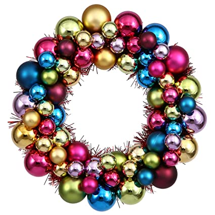 vickerman 12 multi colored ball wreath - Christmas Ball Wreath