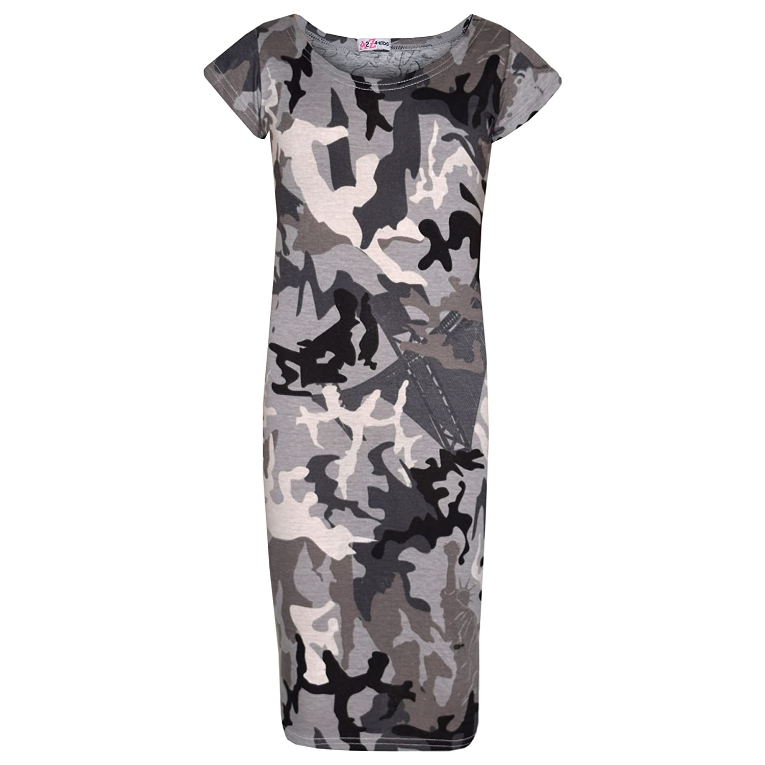 Girls Top Kids Camouflage Print Crop Top Legging Midi Dress New Age 7-13 Years
