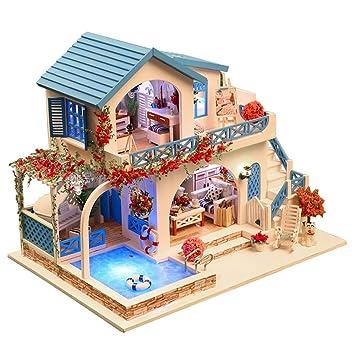Hunpta Miniatur Haus 3d Holz Diy Mobel Led Haus Puzzle Dekorieren
