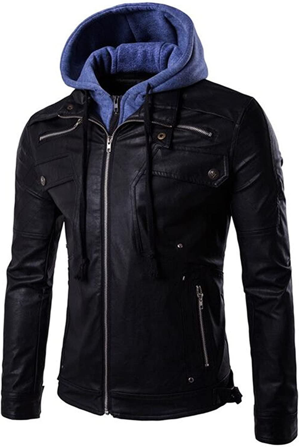 Allonly Mens Fake Two Pieces Pu Leather Motorcycle Rider Bomber Hoodie Jacket