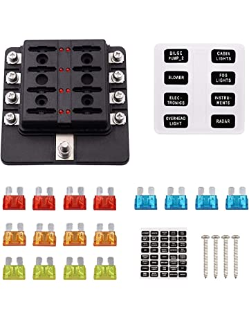faylapa 8 way fuse box holder block circuit car boat automotive blade fuse  holder with cover