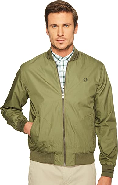 5b61b3284 Fred Perry Men s Tramline Bomber Jacket Olive Drab Outerwear  Amazon ...