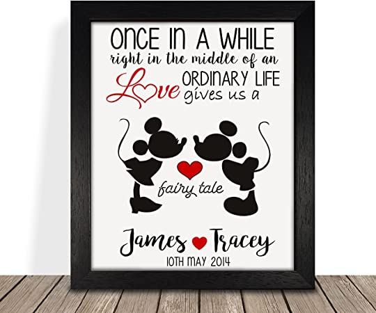 Personalised Presents Gifts For Him Her Husbnd Wife Couples Girlfriend Boyfriend Him Her Wedding Anniversary Valentines Day Christmas Disney Minnie Mickey Framed Prints Posters Special Unique Idea Amazon Co Uk Kitchen Home