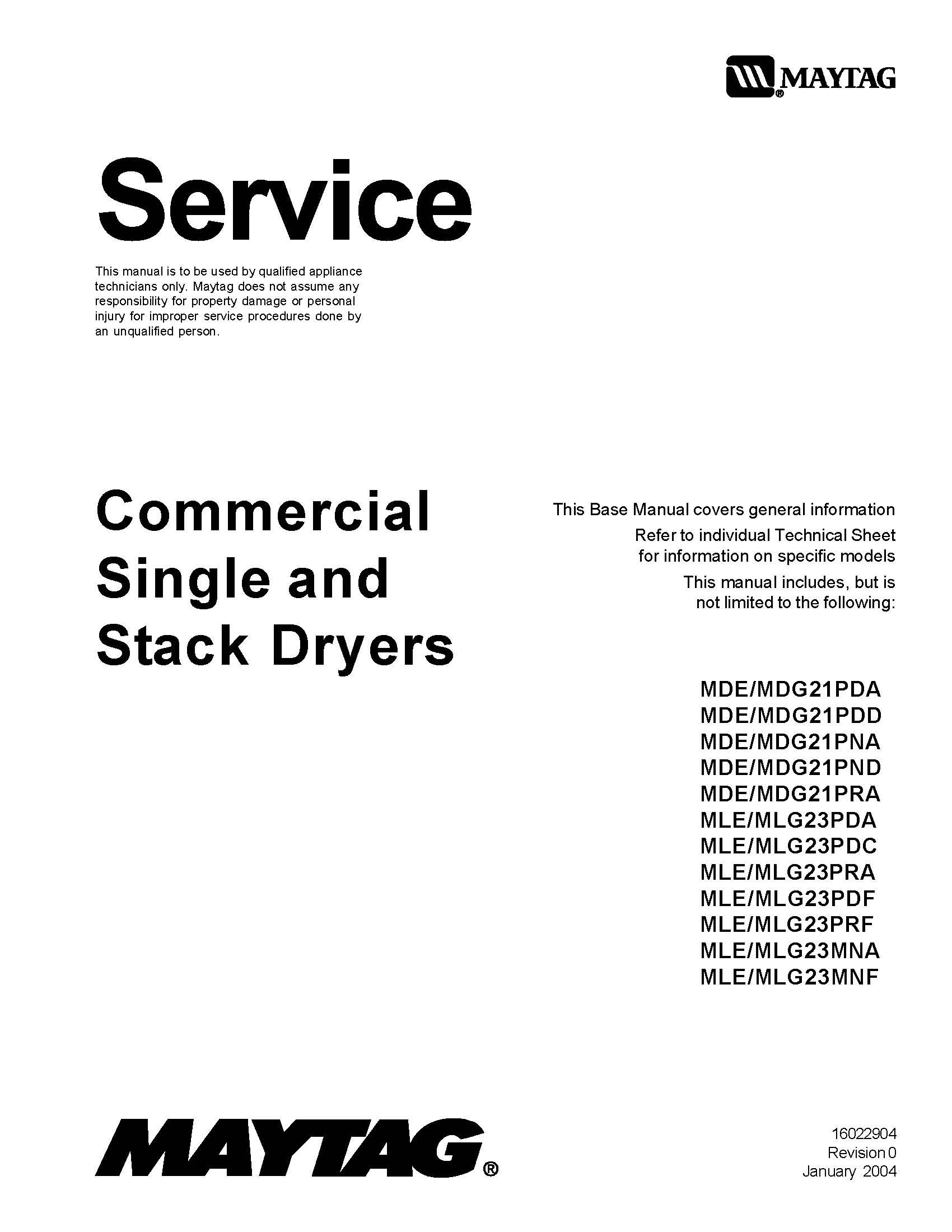 Maytag Mlg23pdhww Service Manual Books Dryer New Edition Schematic