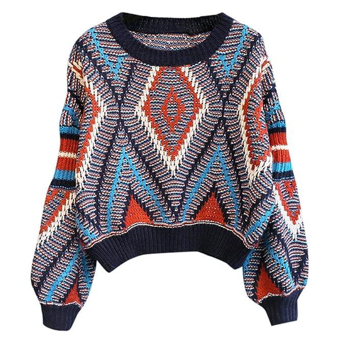 b9e1aea2b2 JPOQW-winter Women s Knit Sweater Round Collar Geometric Print Patchwork  Long Sleeve Loose Pullovers at Amazon Women s Clothing store
